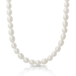 7MM Cultured White Pearl 925 Sterling Silver 18-20 Inch Adjustable Necklace