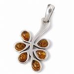 Honey Amber 925 Sterling Silver Flower Pendant