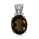 4.04ct. Natural Smoky Quartz 925 Sterling Silver Filigree Solitaire Pendant