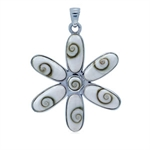 Shiva Shell Sterling Silver FLower HUGE Pendant