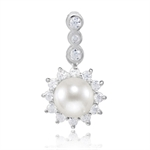 Natural Freshwater White Pearl & CZ 925 Sterling Silver Sunflower Pendant