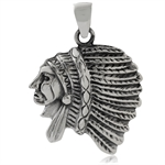 925 Sterling Silver American Red Indian Pendant