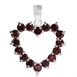 2.4ct. Natural Round Shape Garnet 925 Sterling Silver Heart Pendant