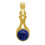 Natural Blue Lapis Lazuli Stone Yellow Gold Plated 925 Sterling Silver Solitaire Pendant
