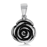 Two-Tone Black 316L Stainless Steel Rose Flower Pendant