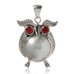 14MM Natural White Mabe Pearl & Garnet 925 Sterling Silver Wise Owl Pendant