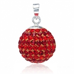 14MM Orange Red Crystal Ball Sterl...