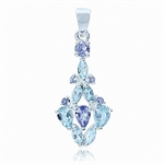 Natural Blue Topaz & Tanzanite 925 Sterling Silver Pendant