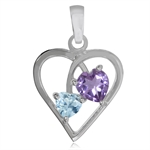 Natural Heart Shape Amethyst & Blue Topaz 925 Sterling Silver Heart Pendant