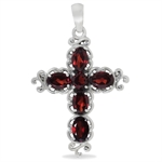 3.31ct. Natural Garnet 925 Sterling Silver Victorian Cross Pendant