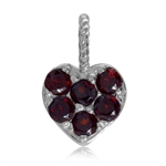Natural Garnet White Gold Plated 925 Sterling Silver Heart Casual Teens/Girls Charm/Pendant