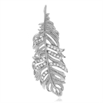 CZ White Gold Plated 925 Sterling Silver Feather Pendant