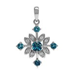 Genuine London Blue Topaz 925 Sterling Silver Snowflake Pendant