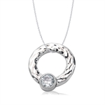 CZ Hammered Stainless Steel Circle Floating Pendant by Inori