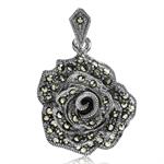Marcasite 925 Sterling Silver Rose/Flower Pendant