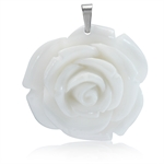 40MM White Stainless Steel Plastic ROSE/FLOWER Pendant