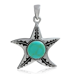 Turquoise Inlay 925 Sterling Silver Starfish Pendant