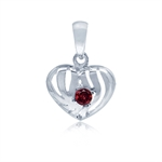 Natural January Birthstone Garnet 925 Sterling Silver Heart Filigree Pendant
