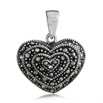 Marcasite 925 Sterling Silver HEART Pendant