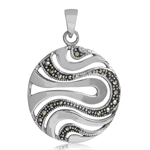 Contemporary Marcasite 925 Sterling Silver Wavy Circle Pendant