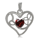 Natural Heart Shape Garnet 925 Sterling Silver Heart Love Pendant