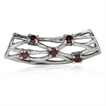 Natural Garnet 925 Sterling Silver Ribbon Weave Knot Slide Pendant
