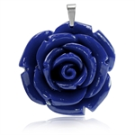 40MM Lapis Blue Stainless Steel Plastic ROSE/FLOWER Pendant
