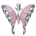 Pink Mother of Pearl Inlay 925 Sterling Silver Butterfly Pendant
