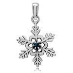 Genuine London Blue Topaz 925 Sterling Silver Snowflake Pendant