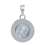 White Zircon 316L Stainless Steel Pattern Circle Pendant