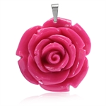 40MM Pink Stainless Steel Plastic ROSE/FLOWER Pendant