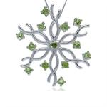 Natural Peridot 925 Sterling Silver Snowflake Pendant