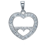 White CZ Heart Frame Sterling Silv...