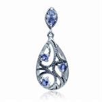 Natural Tanzanite 925 Sterling Silver Rope Pendant