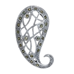 Marcasite 925 Sterling Silver Filigree Paisley Pendant