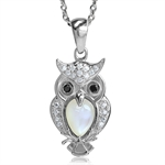 White Mother of Pearl & CZ 925 Sterling Silver Wise Owl Pendant w/ 18 Inch Chain Necklace