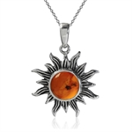 Honey Amber 925 Sterling Silver Sun Ray Inspired Pendant w/ 18 Inch Chain Necklace