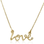 Diamond in 14K Gold Plated 925 Sterling Silver LOVE Pendant w/ 17 Inch Chain