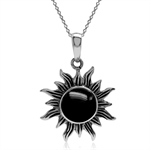 Created Black Onyx Inlay 925 Sterling Silver Sun Ray Inspired Pendant w/ 18 Inch Chain Necklace