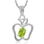 Peridot Green CZ 925 Sterling Silver Apple Pendant w/ 18 Inch Chain Necklace