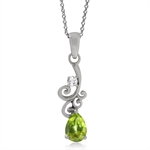 Natural Peridot & White Topaz 925 Sterling Silver Victorian Style Pendant w/ 18 Inch Chain Necklace