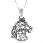 Natural White Diamond 925 Sterling Silver Filigree Horse Pendant w/ 18 Inch Chain Necklace