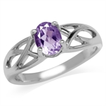 Natural Amethyst White Gold Plated 925 Sterling Silver Jesus Fish Ring
