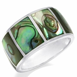 11MM Abalone/Paua Shell Inlay 925 Sterling Silver Eternity Band Ring