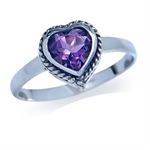 Natural Heart Shape Amethyst 925 S...