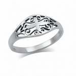 925 Sterling Silver VICTORIAN STYLE FILIGREE Ring