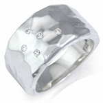 Natural White Diamond 925 Sterling Silver Hammered Ring