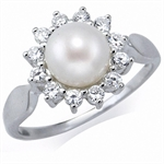 7MM Natural Freshwater White Pearl & CZ 925 Sterling Silver Sunflower Ring