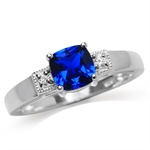 Synthetic Blue Sapphire & White CZ...