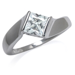 6MM White CZ 925 Sterling Silver E...